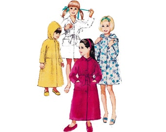 70s Girls Wrap Robe with optional hood Pattern Simplicity 8434 Vintage Sewing Pattern Dressing Gown Beach Wrap Size 8 Chest 26 inches inches