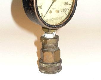 Industrial Salvage, Ashcroft Pressure Gauge, Steampunk Accent