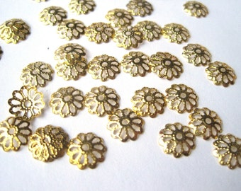 Gold Tone Filigree Bead Caps, 8mm Bead Caps, Flower Beadcaps, Metal Findings, Jewelry Supplies, Jewelry Project Findings, 35 pcs