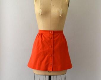 1970s Vintage Skirt - 70s Bright Coral Mini Skirt