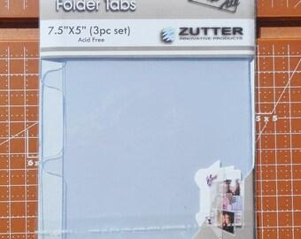 Clear Acrylic Folder Tabs 7.5 x 5 inches 3 piece Set