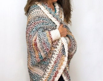 "Crochet Shrug PATTERN / Oversized Cardigan Sweater / Chunky Knitwear /Made in Canada / ""Luxe Oversized Shrug"""