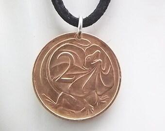 Lizard Coin Necklace, Australian 2 Cents, Coin Pendant, Leather Cord, Men's Necklace, Women's Necklace, 1966