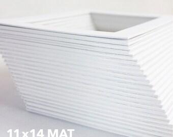Classic White Mat - Standard 11x14 Mat for 8x10 Artwork - Bevel Cut - Acid Free