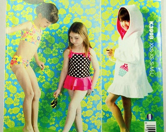 Kwik Sew 3998, Girls' Swimsuits and Cover-up, Sewing Pattern, Girls' Bathing Suit Sewing Pattern, Chest Sizes: 22-28, Sizes XXS to L, Uncut
