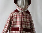 Plaid jacket and hat size 12 to 24 months