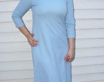 60s Blue Dress Mod Long 1960s Vintage L 40 Bust