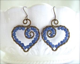Blue Earrings, Wire Wrapped, Heart Earrings, Blue Heart Jewelry, Blue Valentine, Bronze Earrings, Handmade Jewelry, Valentine Gift, 889