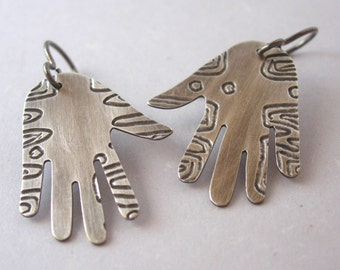 Silver Etched hand Earrings