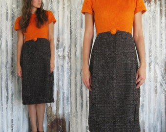 Vintage 60's Mod Fuzzy Pumpkin and Brown Tweed Midi Dress / Autumn Fall Dress / Women S M