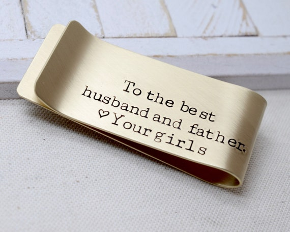 Best Husband Best Father Personalized Money Clip - Father's Day Gifts for Dad Grandpa Papa Husband - Daughters - From the Kids - Anniversary
