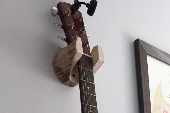 Guitar Hanger Rustic Log Wall Mounted Unique Gift For