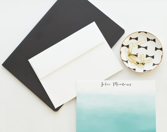 Personalized Ombre Watercolor Note Card Set   Flat Notecard Set   Personalized Stationery    Watercolor Notecards
