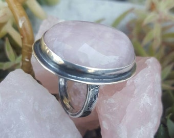 Rose Quartz Crystal Statement Ring, Mom Gift, Gift for Girlfriend, Large Pink Stone Ring, Sterling Silver Artisan Handcrafted Ladies Ring