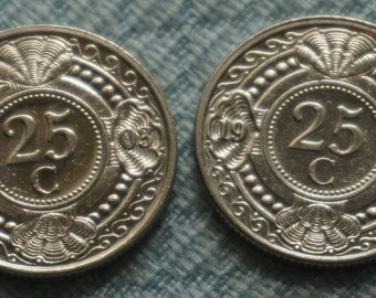 Two Netherlands Antilles 25 cent Coins 1994 2005