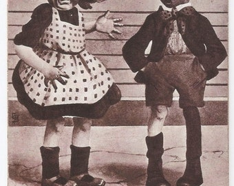 Insecure Girl - Antique Postcard - M. Sheahan, Children, Love, Puppy Love, Comical, Funny, Humorous, Paper, Ephemera