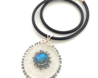 Wire Crochet and Blue Crystal Necklace