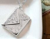 Antique Sterling Silver Envelope Locket Necklace, 1904 UK Hallmarked Ivy Leaf Engraved Pendant - Affection