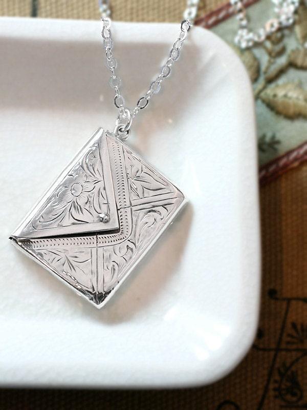 Antique Sterling Silver Envelope Locket Necklace 1904 UK