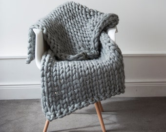 Knit Kit. Extreme Knit Blanket. Throw. Merino Wool Blanket