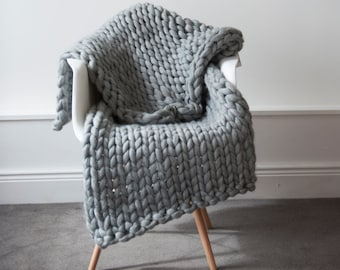 Chunky Knit Blanket Throw Merino Wool Blanket Home decor interior UK seller