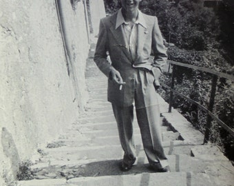 Vintage Black & White Photo - Man Stood on Old Stone Steps