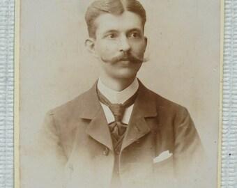 Antique Belgian CDV Photograph - Man with Long Moustache /Mustache