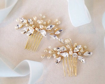 Crystal and Pearl Organic Bridal Comb