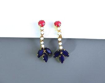 Vintage 50s Red White Blue Opaque Earrings - 1950s Drop Rhinestone Earrings - on sale
