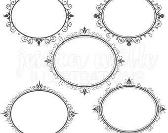 Fancy Oval Frames - Digital Clipart for Commercial or Personal Use, Frames, Fancy Frames, Frame Graphics, Frame Clipart