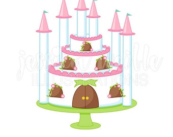 Princess Castle Cake Cute Digital Clipart, Princess Party Clip art, Princess Graphics, Princess Castle Cake Illustration, #310