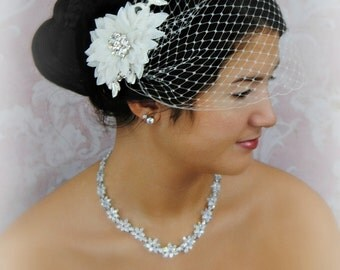 Light Ivory Fascinator and Bird Cage Veil, Bridal Fascinator and Bandeau Veil with Crystals, Lace - HAILIE