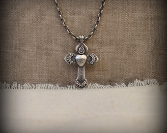 Sacred heart cross necklace, Sterling silver hand forged cross