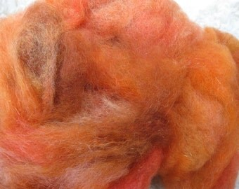 Carded Wool Blend, Pumpkin Pie - Opalescence - 4 oz BFL Wool, Teeswater cross, Mohair for hand spinning, felting, crafts