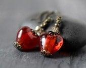 Victorian Red Heart Earrings Red Earrings Murano Lampwork Red Glass Earrings Love Romantic Heart Valentine Gift Best Friend Wife Girlfriend