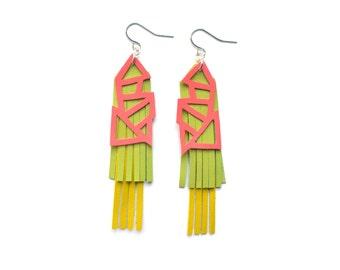 Geometric Earrings, Pink Earrings, Green Fringe Earrings, Leather Earrings, Yellow Earrings, Statement Earrings, Geometric Jewelry