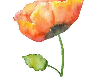 Poppy Watercolor Painting Giclee Print 8 x 10 Floral - 8.5 x 11 Fine Art Print