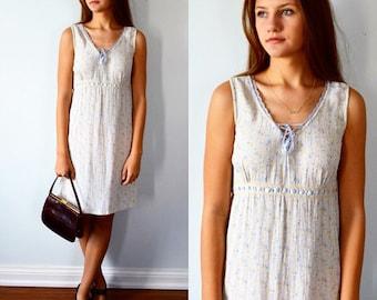 Vintage Sleeveless Dress, April Cornell, Casual Dress, 1980s Dress, Cottage Chic, Vintage Dress