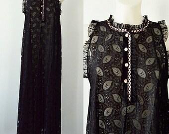 Vintage Nightgown, Vintage Nightgowns, Vintage Black Nightgown, 1960s Nightgown, Romantic,  Perri Ann, Lingerie, Black Lace