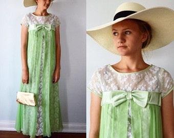 Vintage Gown, Vintage Dress, 1960s Dress, 1960s Gown, A Dress Town Original, Lace, Chiffon Gown, Evening Gown, Bridesmaid