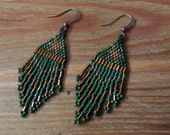Native American inspired Beaded Earrings, Green and Bronzed Beaded Earrings