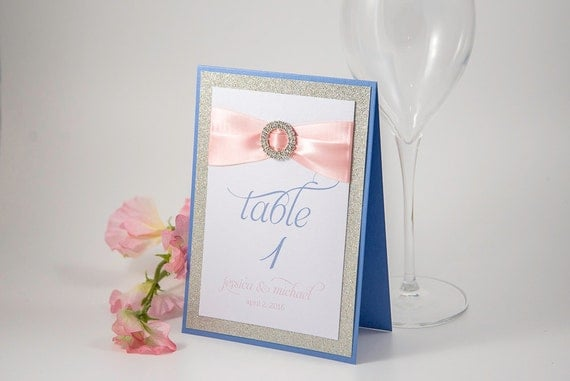 Triple-Layered, Bling & Satin Table Number Sign