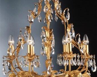 Gold leaf birdcage crystal chandelier, 6 arms
