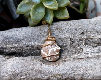 Coral Necklace - Ocean Inspired Pendant - Natural Coral Jewelry - Mermaid Style Necklace - Raw Bohemian Jewelry - Raw Beach Stone Pendant