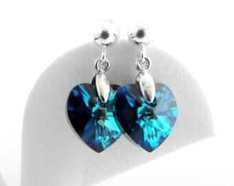 Blue Drop Earrings, Swarovski Heart Earrings, Small Earrings, Jr Bridesmaid Earrings, Delicate Earrings, Heart Jewelry, Crystal Heart Earing