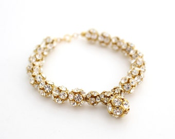 Gold Bridal Bracelet, Bridal Wedding Jewelry Gold, Glamorous Wedding Bracelet, Old Hollywood Glamour, Gold statement bracelet, Prom Bracelet