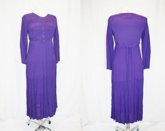 1990's Purple Dress Babydoll Style Size 6 Vintage Retro 90s Hipster Grape Embroidered Tiered Skirt