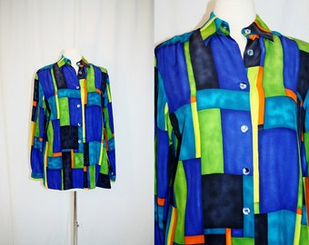 1990's Silk Blouse Multicolored Stained Glass Abstract Size 6 Vintage Retro 90's  Artist Arts & Crafts STyle Oversized