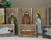 Hand Painted and Carved Wooden Christmas Nativity - 8 pieces