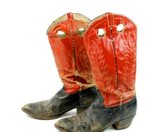 Tall Red and Black Cowboy Boots with Pull Tabs by Cowtown, Men's size 11